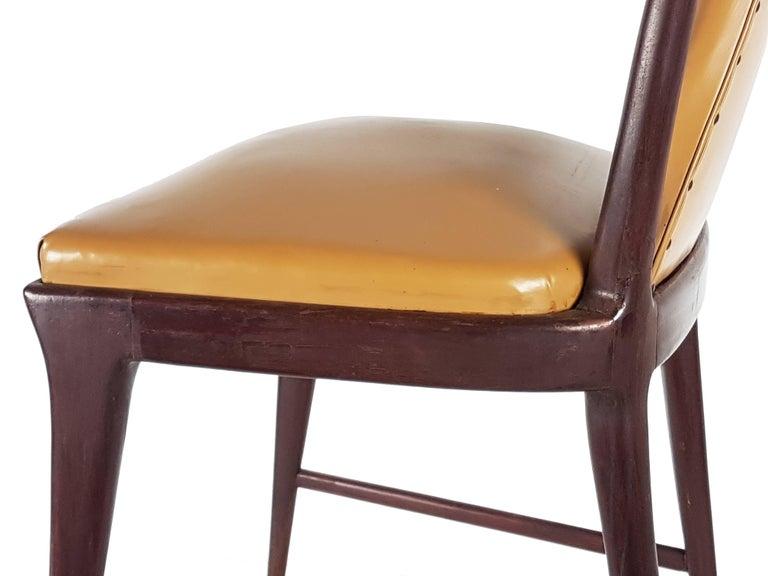 Light-Brown Skai & Wood 1940s Dining Chairs style of Osvaldo Borsani For Sale 2