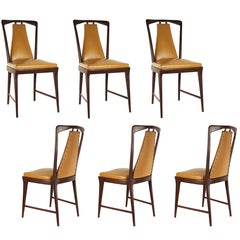 Light-Brown Skai & Wood 1940s Dining Chairs style of Osvaldo Borsani