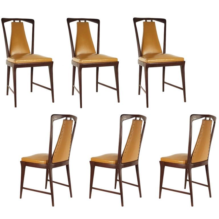 Light-Brown Skai & Wood 1940s Dining Chairs style of Osvaldo Borsani For Sale