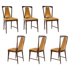 Light-Brown Skai and Wood 1940s Dining Chairs in the Style of Osvaldo Borsani