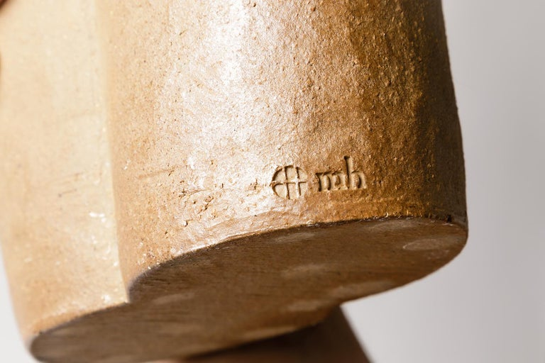 20th Century Light Brown Stoneware Figurative Ceramic Vase by Martin Hammond, 1975