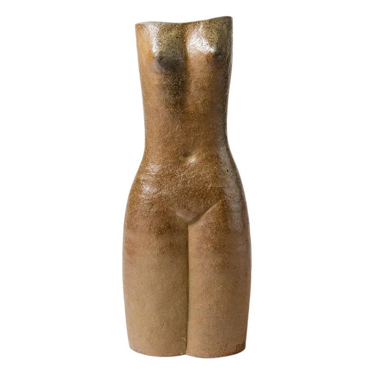 Light Brown Stoneware Figurative Ceramic Vase by Martin Hammond, 1975