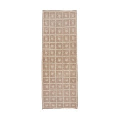 Light Brown Vintage Oushak Runner, Transitional Design