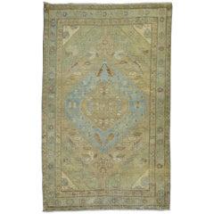 Light Camel Green Blue Antique Persian Malayer Rug