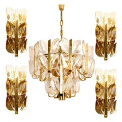"Light Fixtures ""Florida"" Kalmar, Crystal Glass, 1 Chandelier and 4 Wall Lights"