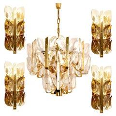 "Light Fixtures ""Florida"" Kalmar, Crystal Glass, 1 Chandelier and 4 Wall Lights"