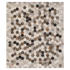 Light Gray and Dark Gray Customizable Angulo Cowhide Area Floor Rug Large