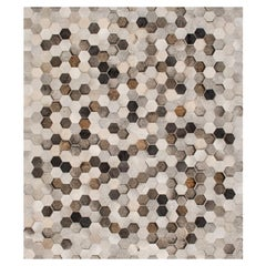 Light Gray and Dark Gray Customizable Angulo Cowhide Area Floor Rug Medium