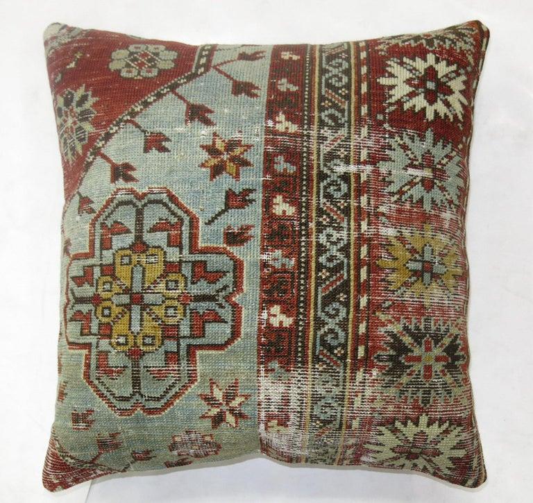 Biedermeier Light Gray Blue Red Shabby Chic Caucasian Rug Square Rug Pillow For Sale