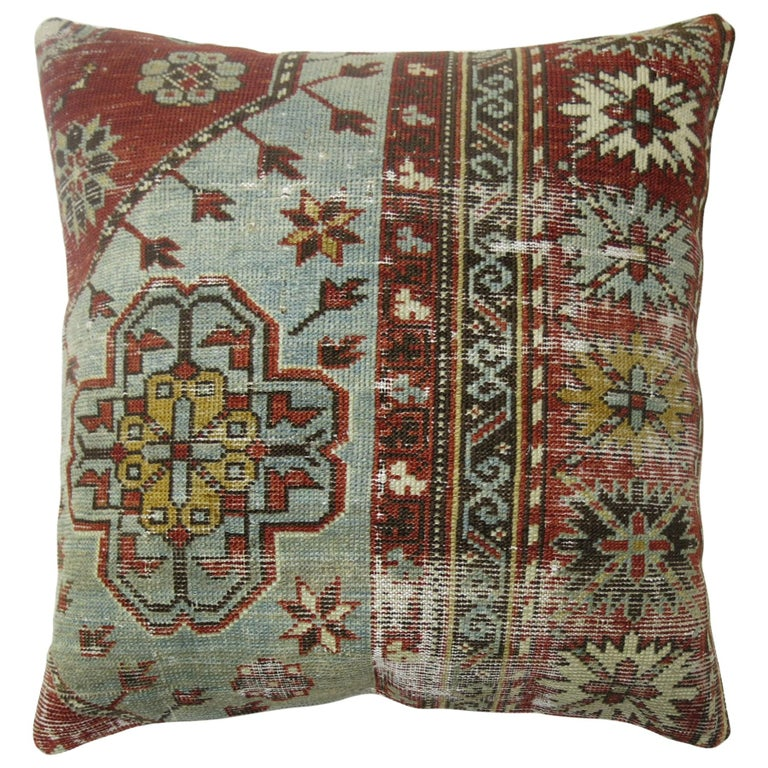 Light Gray Blue Red Shabby Chic Caucasian Rug Square Rug Pillow For Sale
