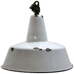 Light Gray Enamel Vintage Industrial Pendant Light
