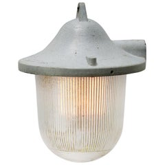 Light Gray Metal Vintage Industrial Striped Glass Hanging Lamps Pendants