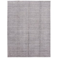 Light Gray Modern Bamboo/Silk Boho Handmade Rug