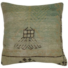 Light Green and Beige Vintage Rug Pillow
