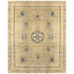 "Light Green Antique Chinese Carpet. Size: 9' 3"" x 11' 4"" (2.82 m x 3.45 m)"