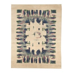 French Art Deco Mid Century Light Green, Blue, Grey and Rose Wool Rug