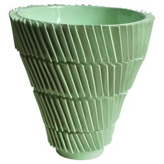 Light Green Ceramic Vase by Claudia Frignani Glazed Earthenware Contemporary