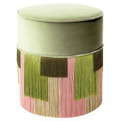 Light Green Couture Geometric Stripe Pouf