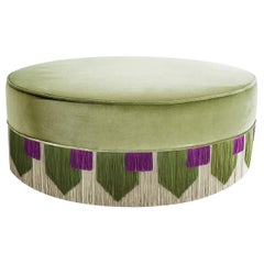 Light Green Couture Geometric Tie Pouf