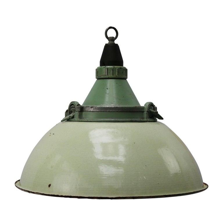 Light Green Enamel Vintage Industrial Cast Aluminum Top Pendant Light
