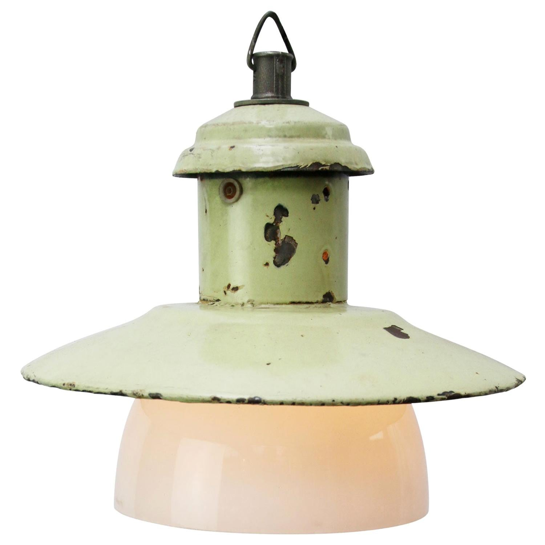 Light Green Enamel Vintage Industrial Opaline Glass Pendant Lights