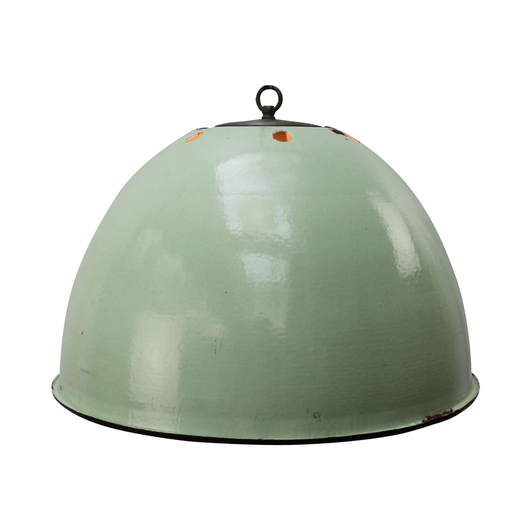 Light Green Enamel Vintage Industrial Pendant Light