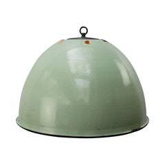 Light Green Enamel Vintage Industrial Pendant Light