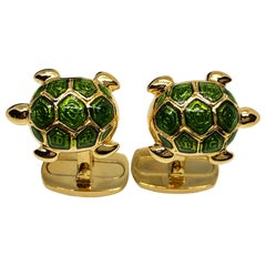 Light Green Hand Enameled Turtle Shaped Sterling Silver Gold-Plated Cufflinks