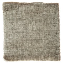 Light Green Olive Color Hand-Loomed Bamboo Silk Solid Neutral Rug in Oversize