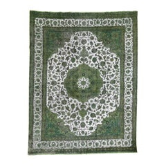 Light Green Overdyed Persian Tabriz Hi-low Vintage Hand Knotted Rug