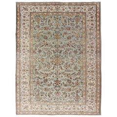 Light Green Vintage Persian Kashan Rug