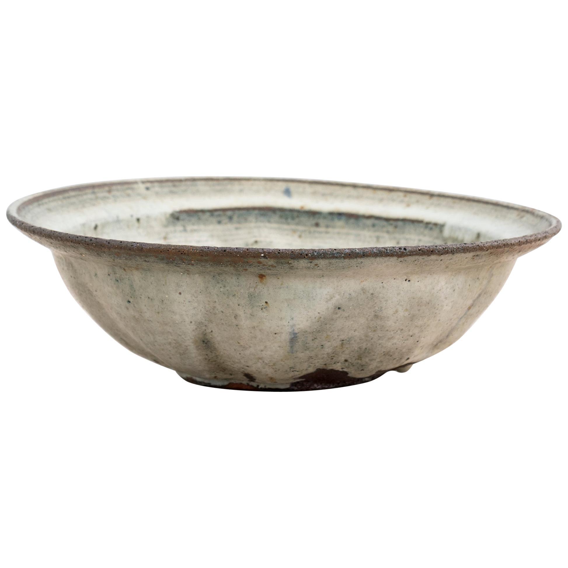 Light Grey and Blue Stoneware Bowl by Gutte Eriksen