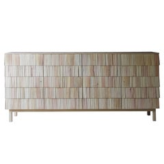 Scandinavian Credenza in Light Grey, Shingles in Pine Wood with Limestone Top