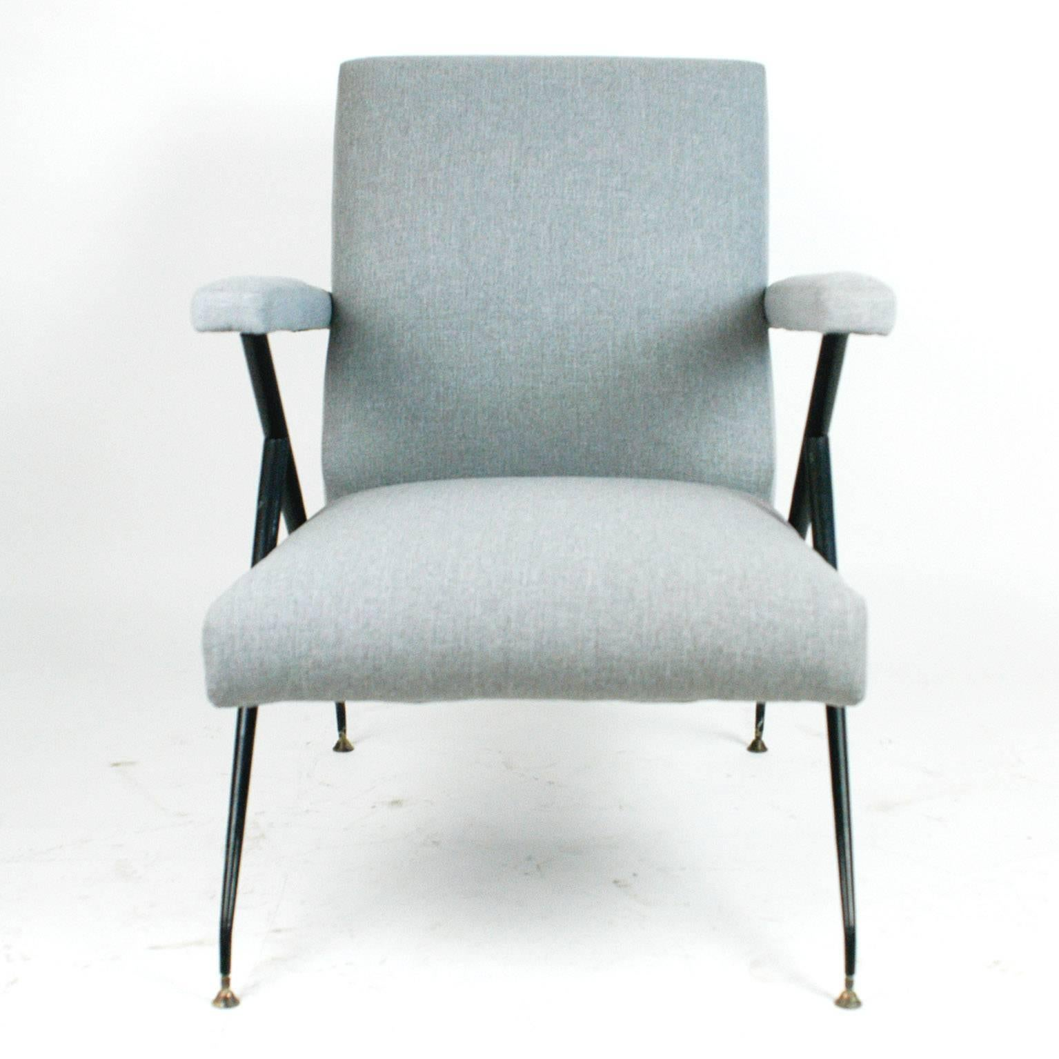 Mid Century Modern Light Grey Italian Midcentury Reclinable Lounge Chair In  The Style Of Ico