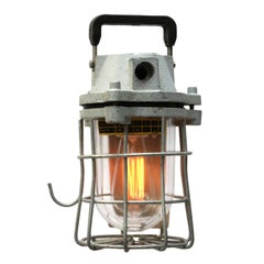 Light Grey Vintage European Industrial Cast Iron Clear Glass Cage Light