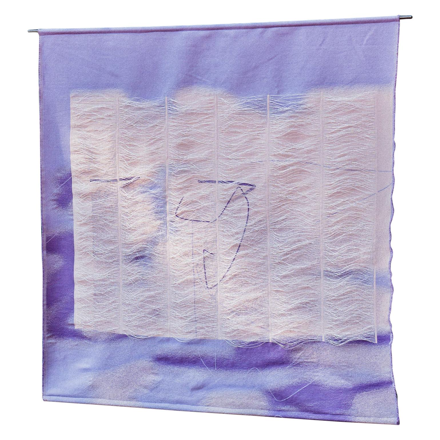 Light Lilac Layer Contemporary Rug in Wool by Marie Schumann