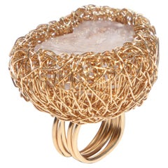 Light Lilac Raw Fluorite in 14 Kt Yellow Gold Woven Statement Ring by the Artist