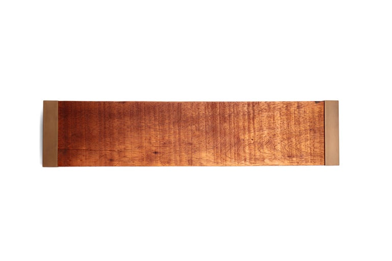 Post-Modern Light Mahogany Tray with Antique Brass Handles For Sale