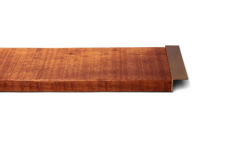 Oiled Light Mahogany Tray with Antique Brass Handles For Sale