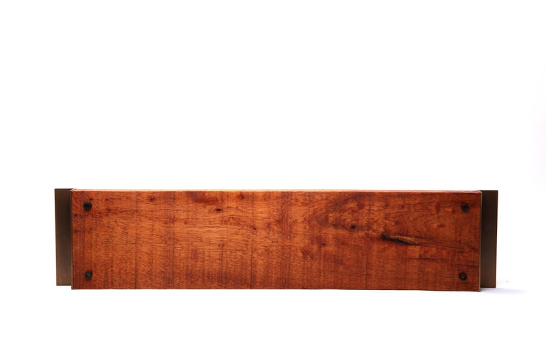 Contemporary Light Mahogany Tray with Antique Brass Handles For Sale