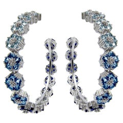 Light Medium and Dark Blue Topaz Ombre Blossom Gentile Large Gemstone Hoops