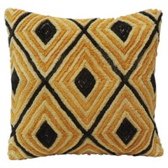Light Orange and Black Trellis Raffia Velvet Kasai Decorative Pillow