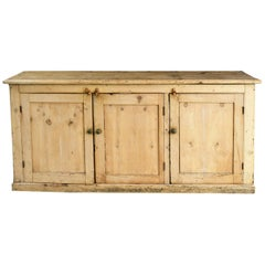 Light Pine Rustic Counter Console with 3 Doors and Interior Shelving, circa 1840