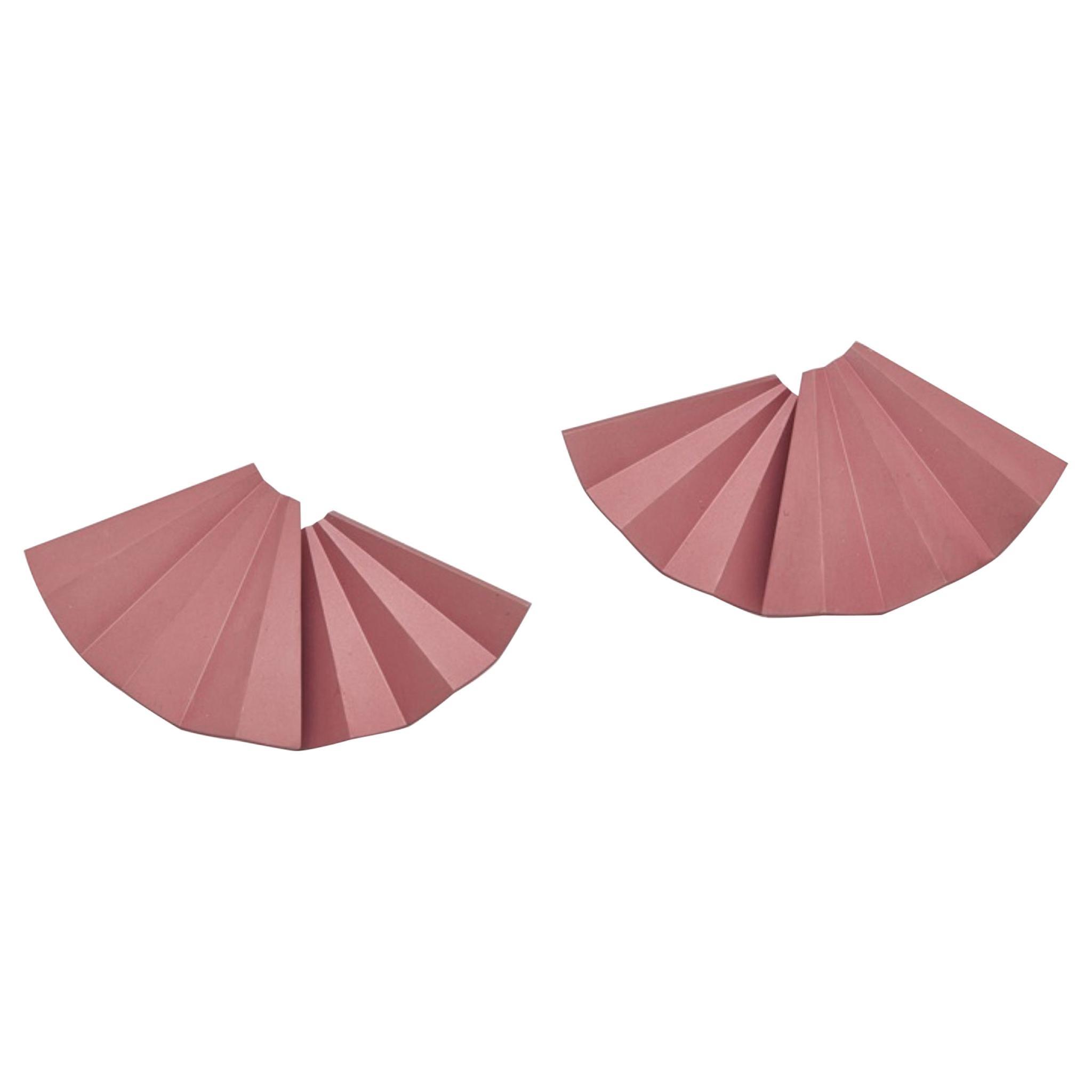 Light Pink Aluminum Fan Earrings by JAR