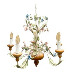 Light Pink, Blue and Mint Shabby Chic Florence Style Chandelier, 1960s