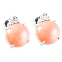 Light Pink Coral Made in Italy Stud Earrings with White Diamonds 18 Karat Gold