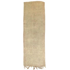 Light Pink Cream Mid-20th Century Neutral Moroccan Runner