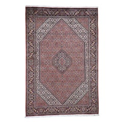 Light Pink New Persian Bijar 300 KPSI Hand Knotted Oriental Rug,