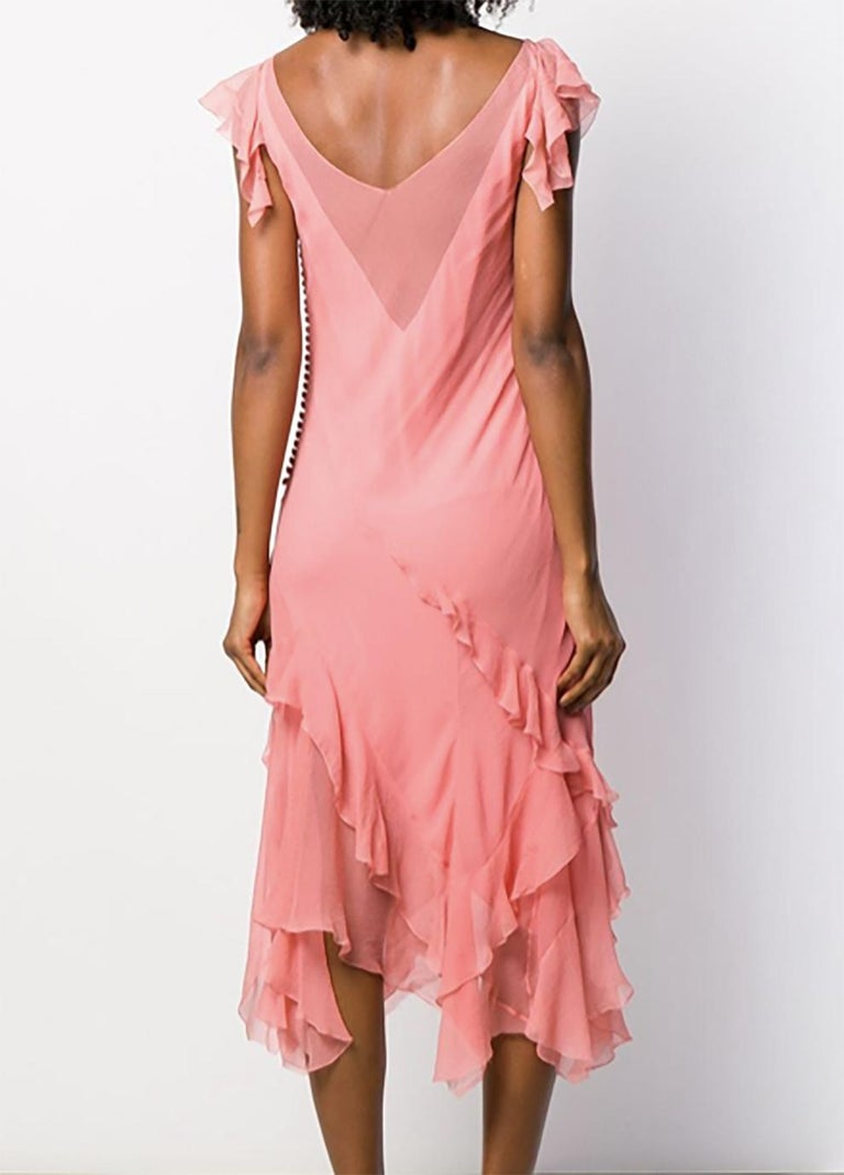 Light Pink Silk Cristian Dior Cocktail Dress In Excellent Condition For Sale In Paris, FR