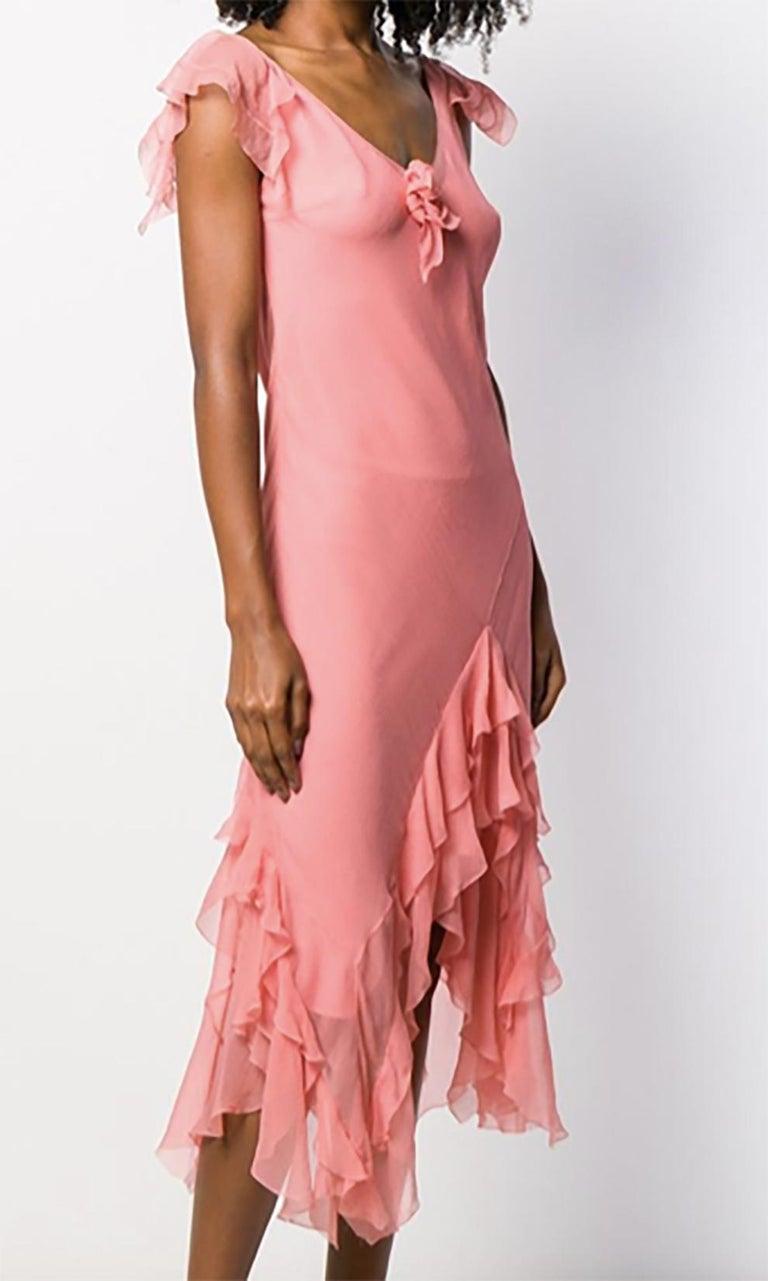 Women's Light Pink Silk Cristian Dior Cocktail Dress For Sale
